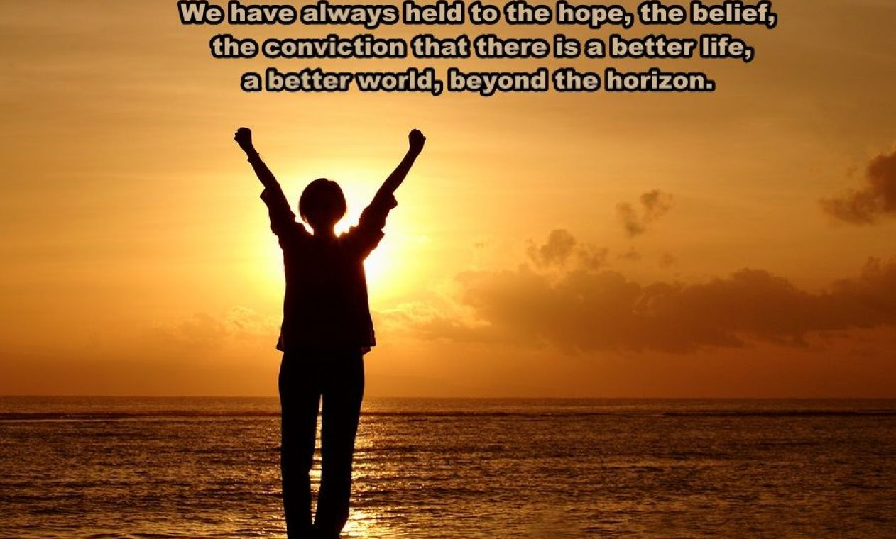Hope-quote-on-background-sunset